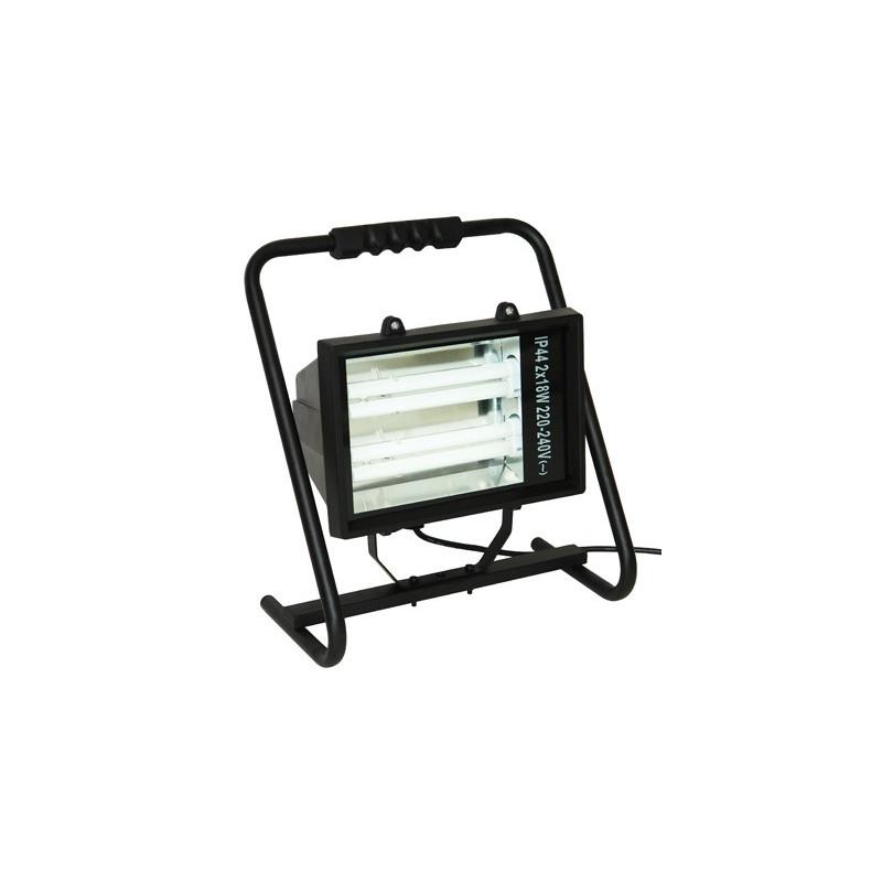 DEMA Úsporný žiarivkový reflektor prenosný 2x18 W s káblom H05RNF