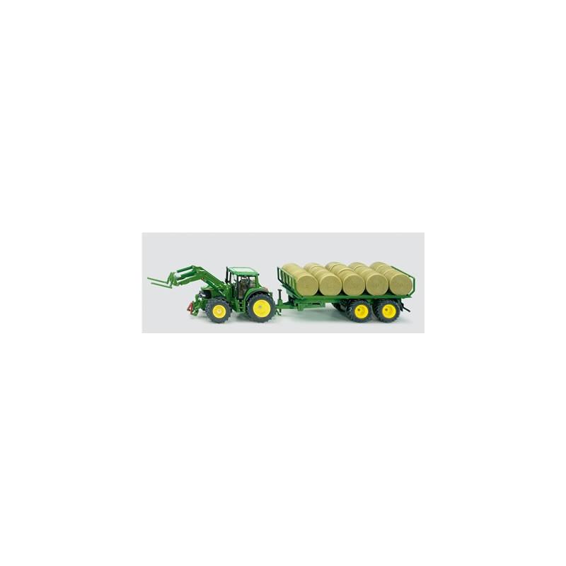 Siku John Deere traktor s prívesom s balíkmi 3862