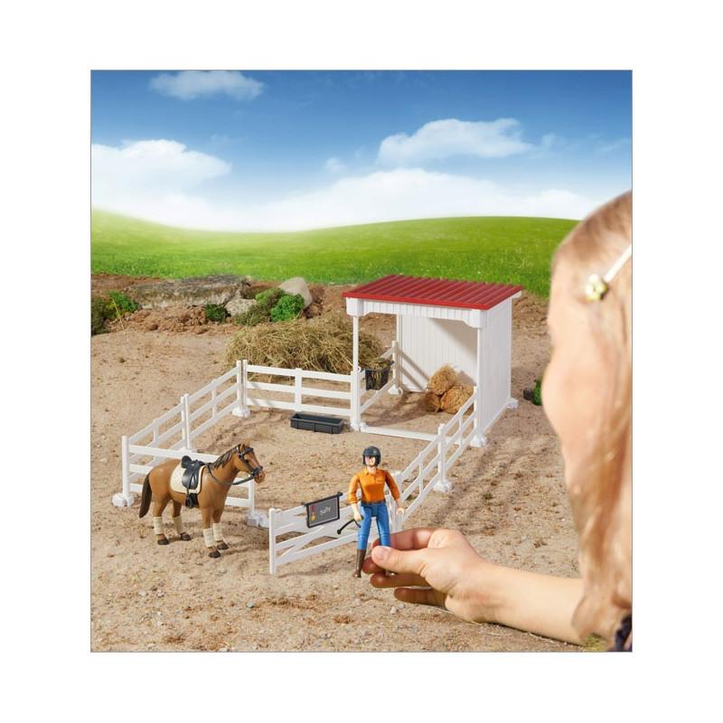 Bruder malé gazdovstvo s koníkom, sedlom a plotom