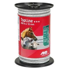 AKO Páska na elektrický ohradník 200 m x 10 mm TopLine Plus, bielo-čierna