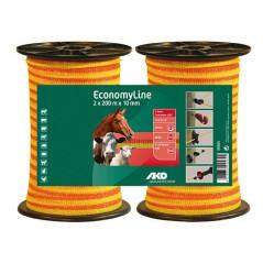 AKO Páska na elektrický ohradník 2x 200 m x 10 mm EconomyLine, oranžovo-žltá
