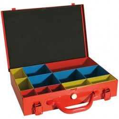 Vintec Kovový kufrík so zásobníkmi 39x28x7 cm, 12 zásobníkov US2