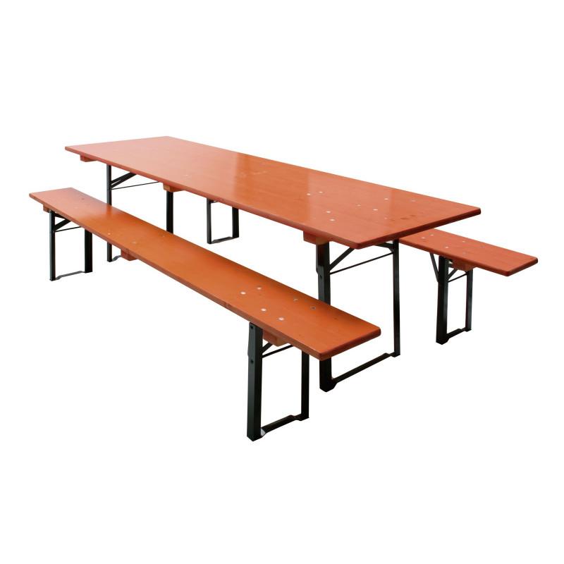 Stôl s dvoma lavicami, oranžová farba
