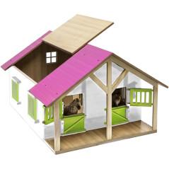 Kids Globe Drevená stodola so stajňami pre kone s ružovou strechou 1:24