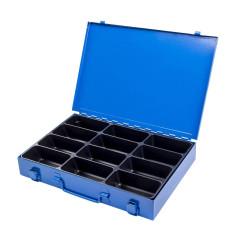 Sortimentový kufrík kovový, 12 priehradok