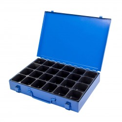 DEMA Kovový sortimentový kufrík, 24 priehradok