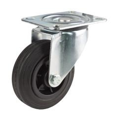 DEMA Otočné gumové koliesko s umelým diskom a brzdou 200 mm, do 80 kg