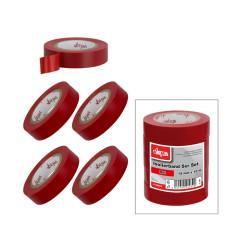 DEMA Elektrikárska izolačná páska 15mm / 10 m, červená, 5 ks