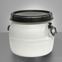 Plastový sud biely 30 L s vekom a držadlami