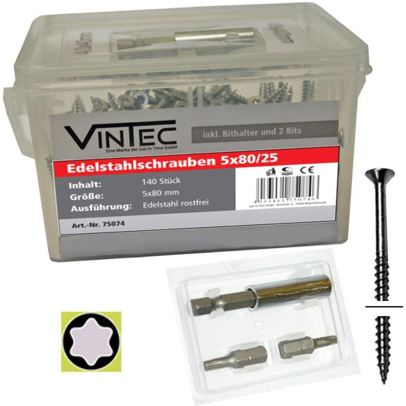 Vintec Nerezové skrutky 5x80 T25 140 ks