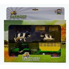 Kids Globe Traktor s vlečkou, kravičkami a poľnohospodárskym príslušenstvom
