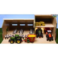 Maštaľ pre kravičky a prístreškom pre stroje 1:32 Kids Globe