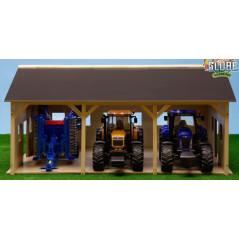 Kids Globe Drevená stodola pre 3 traktory 1:16