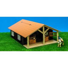 Kids Globe Drevená stodola so stajňami pre kone 1:24