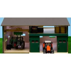 Kids Globe Šopa s dielňou pre poľnohospodárske stroje 1:32