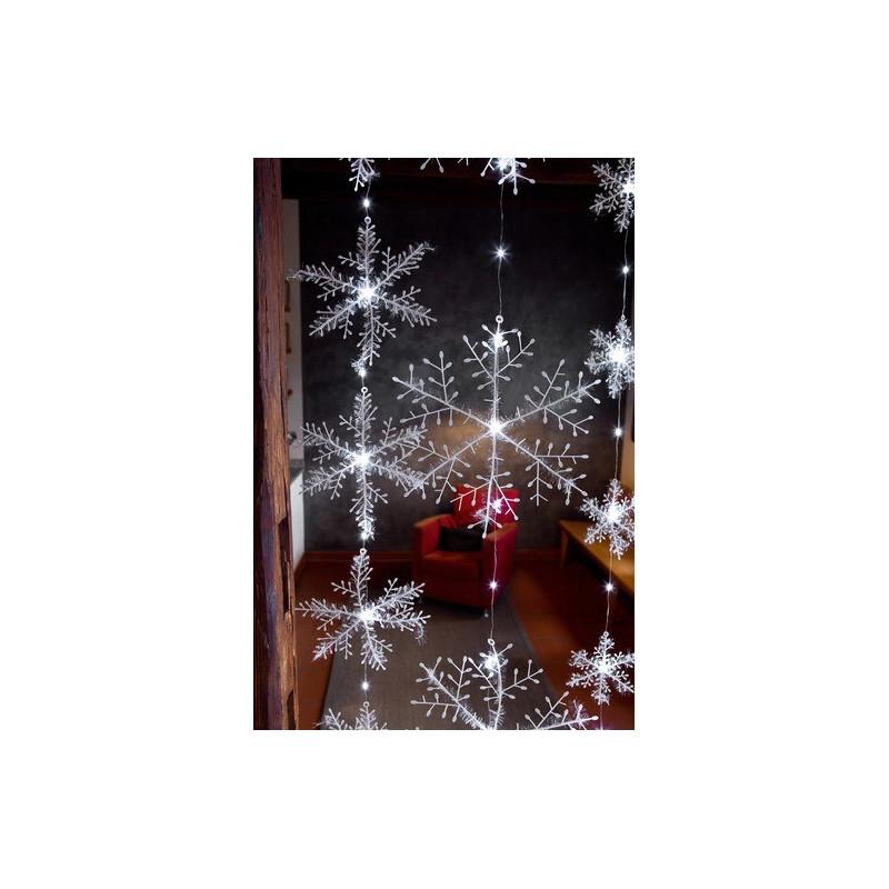Hellum Svietiace snehové vločky LED, záves 120x150 cm