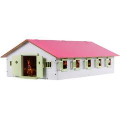 Kids Globe Stajňa pre kone s 9 boxmi a ružovou strechou 1:32