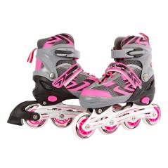 Kolieskové korčule ružová/sivá, nastaviteľná veľkosť 31 - 34