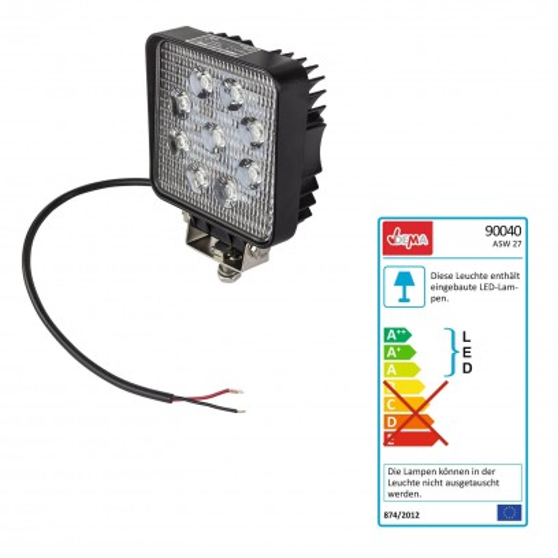 LED pracovný reflektor 12 V 9x3 W