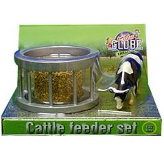 Kids Globe Kŕmna súprava s okrúhlym balom slamy a kravou 1:32