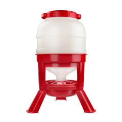 MenaVET Kŕmny automat pre hydinu silo 30 litrov, červeno-biely