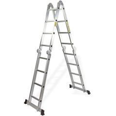 DEMA Multifunkčný hliníkový kĺbový rebrík 4x4 priečky