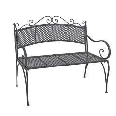 Záhradná kovová lavička Provence, antik sivá
