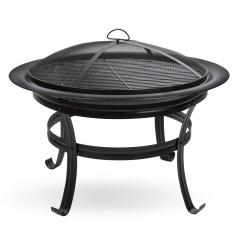 DEMA Záhradné ohnisko s grilom Girona FS 750, čierne