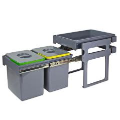 DEMA Odpadkový kôš s vekom na triedený odpad 2x15 L s odkladacím priestorom
