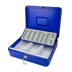 DEMA Kovová pokladnička s mincovníkom 30x24x9 cm DGK 300, modrá
