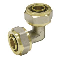 Svorná uhlová spojka 90° na viacvrstvové hliníkové spojovacie rúry, 20x2 mm