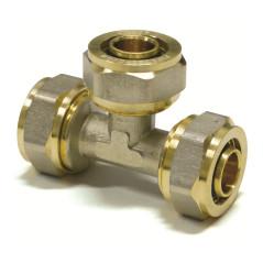 Mosadzná spojka tvaru T na hliníkové spojovacie rúry 20x2 / 20x2 / 20x2 mm