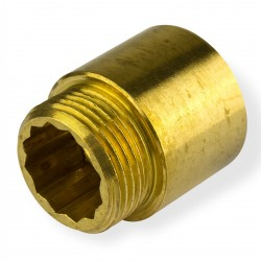 "Mosadzné predĺženie kohútika 1/2"" x 15 mm"