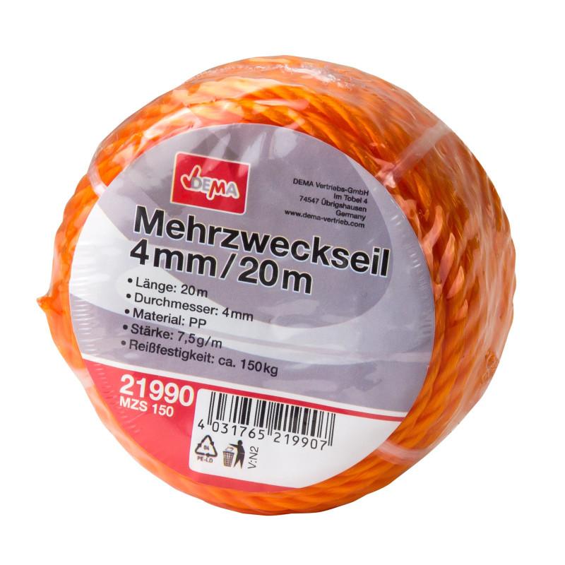 DEMA Viacúčelové lano 4 mm / 20 m MZS 150
