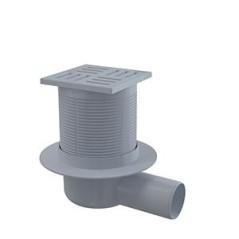 Podlahová vpusť 105x105/50 mm bočná, sivá mriežka