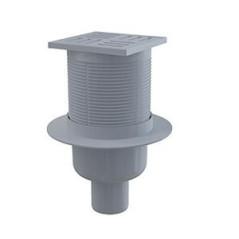 Podlahová vpusť 105x105/50 mm priama, sivá mriežka