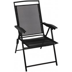 DEMA Skladacia plážová stolička Long Beach, čierna