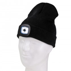 DEMA Pletená čiapka s LED čelovkou, čierna