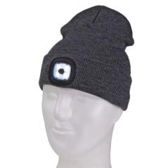 DEMA Pletená čiapka s LED čelovkou, šedá