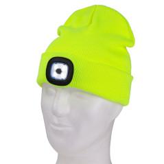 DEMA Pletená čiapka s LED čelovkou, žiarivá žltá