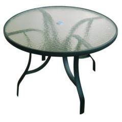 Hliníkový stôl so sklenenou doskou