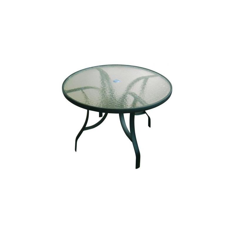 Hliníkový stôl so sklenou platňou